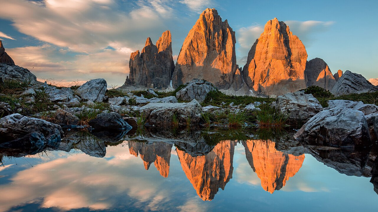 Enrosadira sulle Tre Cime di Lavaredo - Dolomiti UNESCO