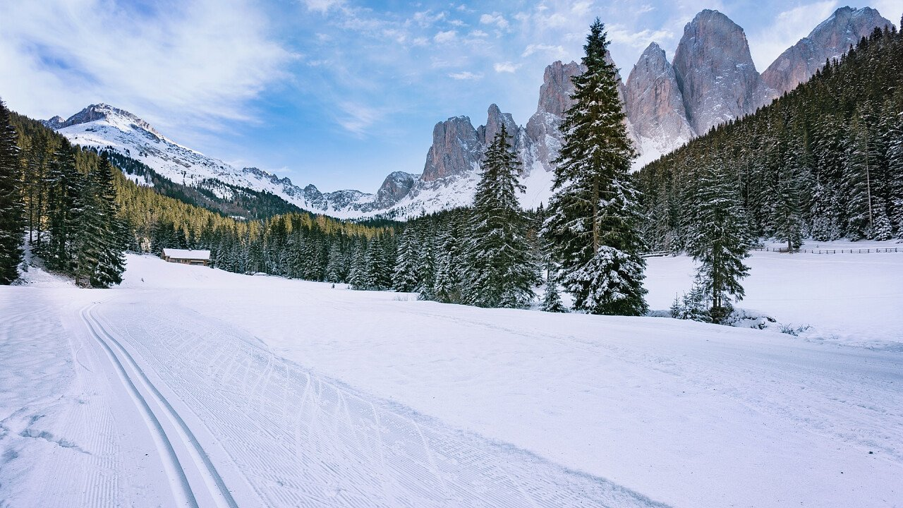 Pista da fondo sulle Dolomiti