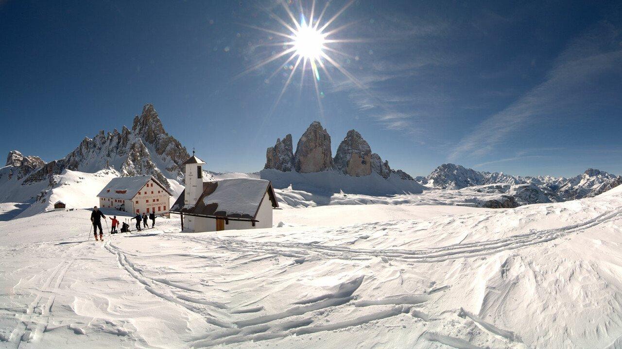 Escursioni invernali alle Tre Cime di Lavaredo, patrimonio dell'UNESCO