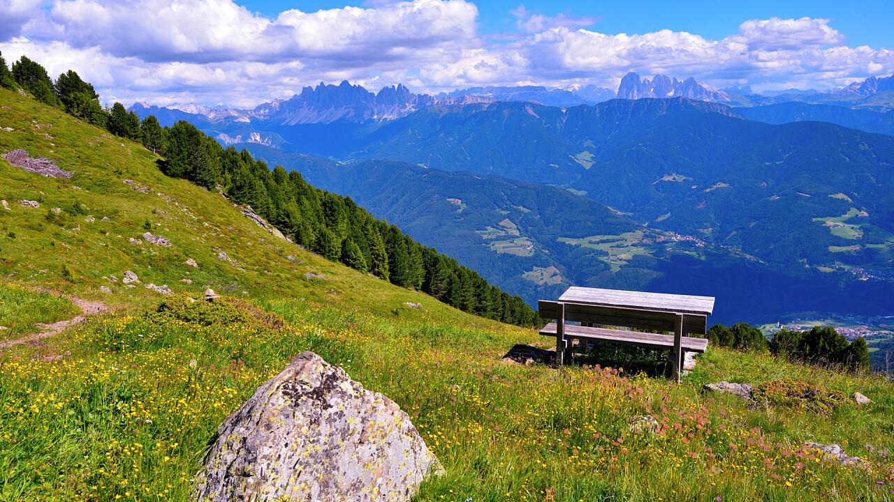 Trail bench in summer Velturno