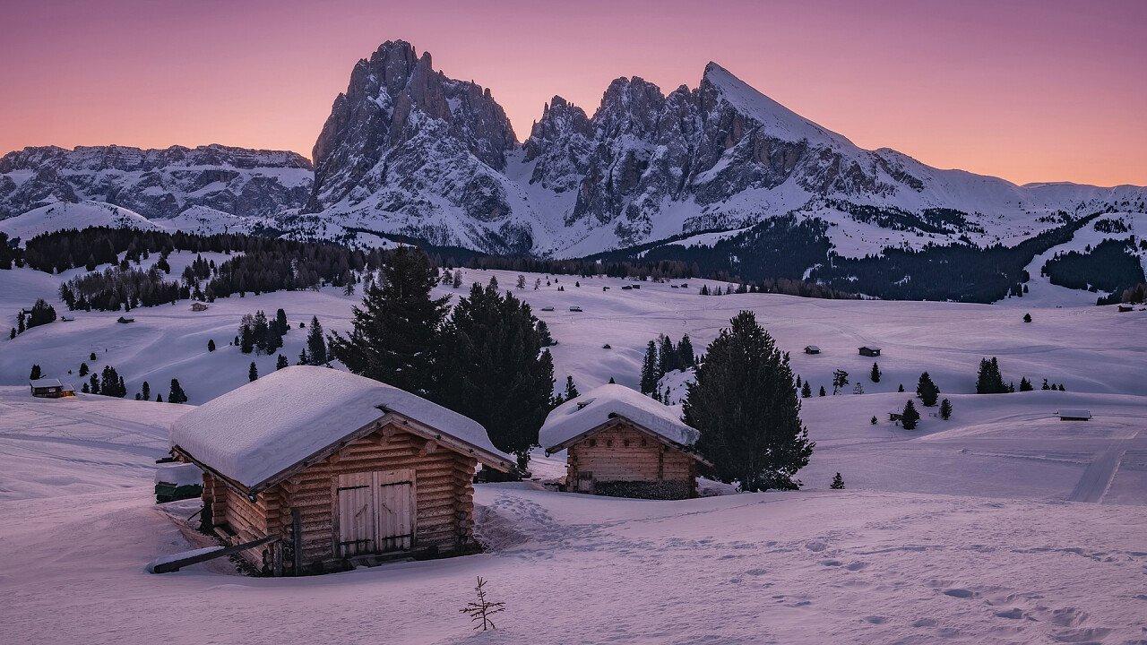 sunset winter alpe di siusi