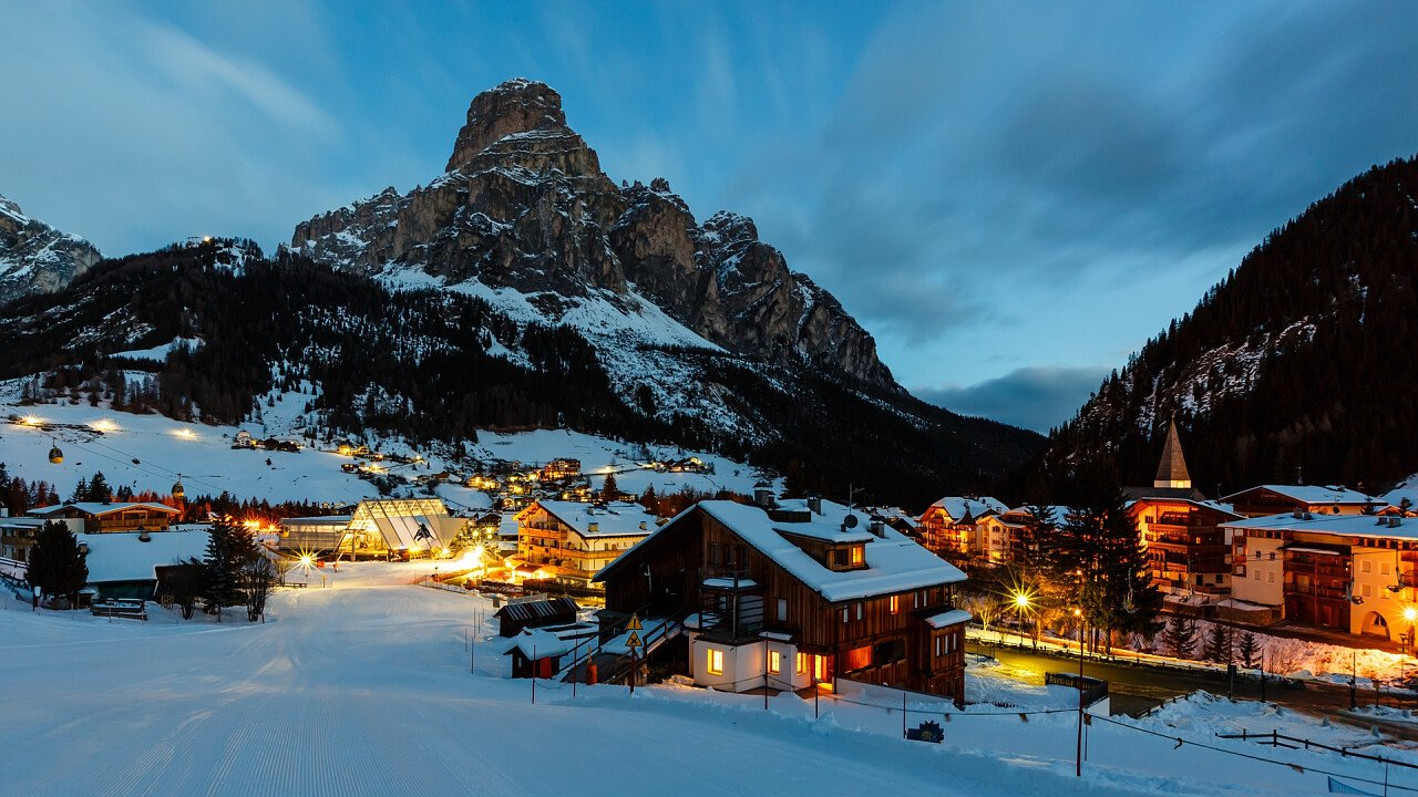 corvara by night in winter