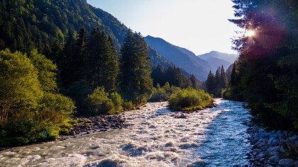 Sarca Fluss in Tione di Trento