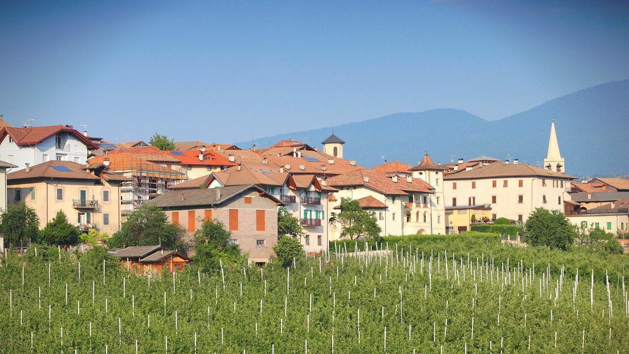 Revò among the vineyards, a hamlet of Novella