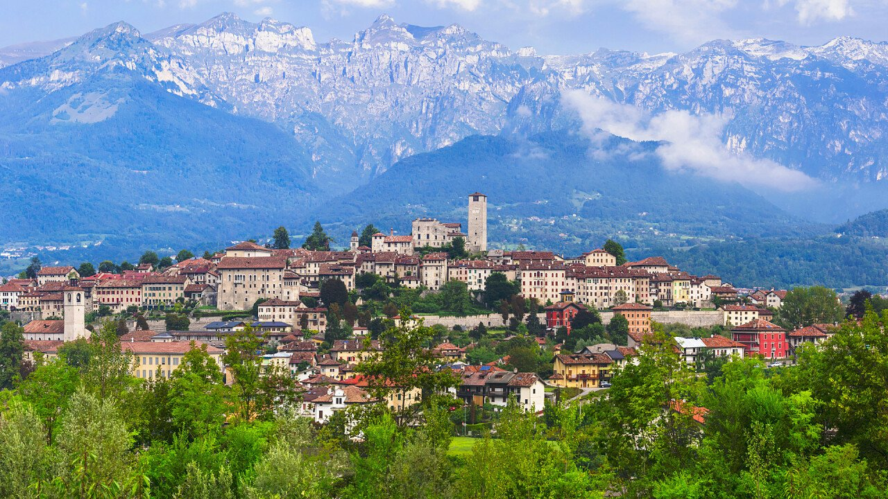 Panoramic view of Feltre with mountains - iStock