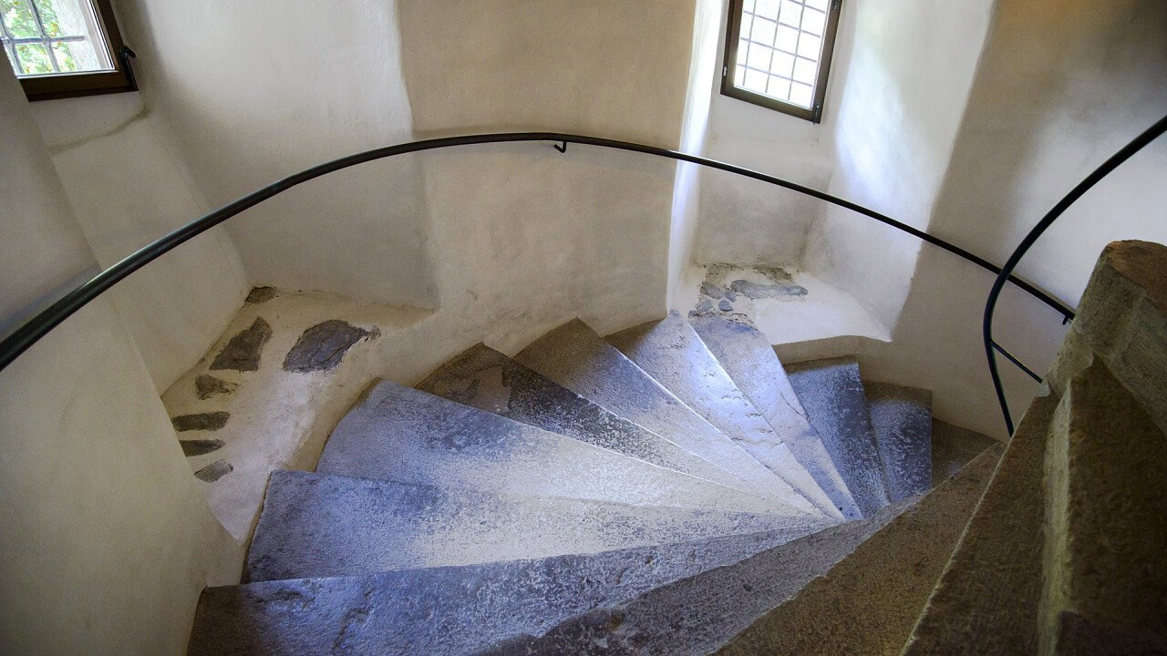Internal stairs Caldes castle