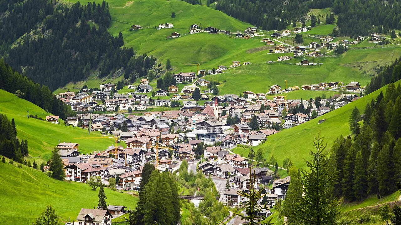 Panoramic view of Ortisei in summer