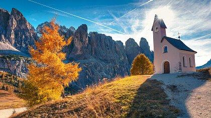 Church at Selva Val Gardena in autumn