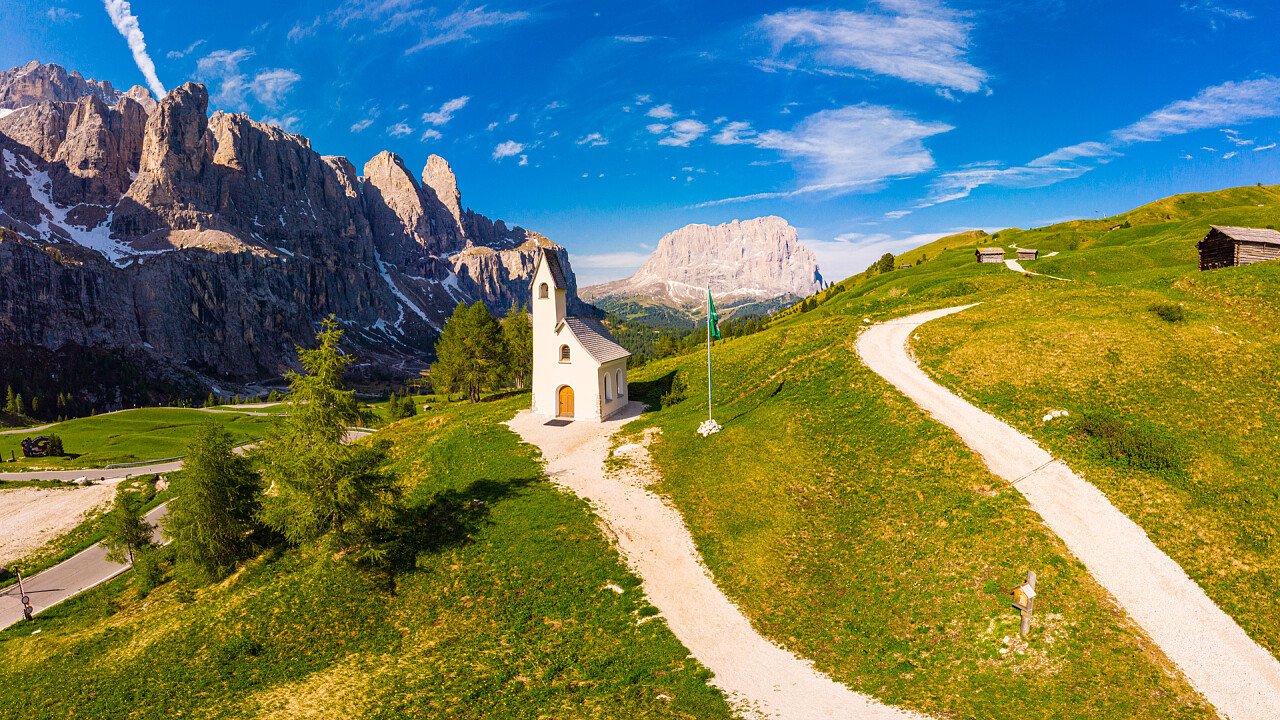 Selva Val Gardena church in Gardena Pass