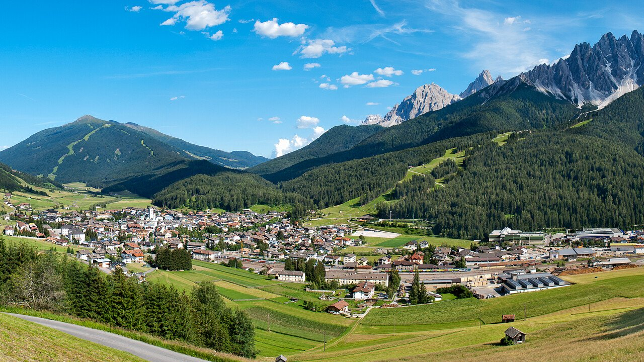 Panoramic view of San Candido in summer