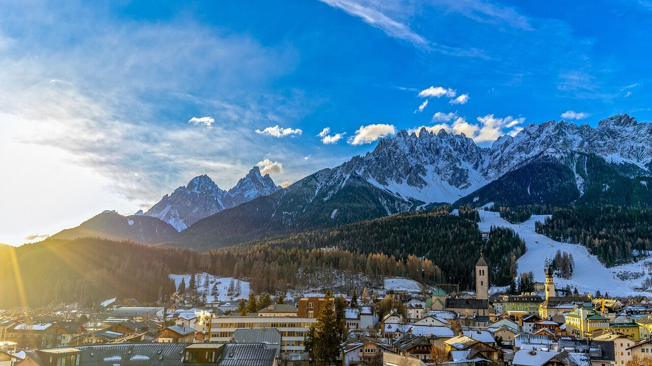Ski slopes and San Candido in winter