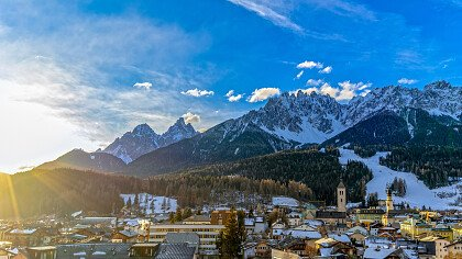 Snow covered Dolomites above San Candido