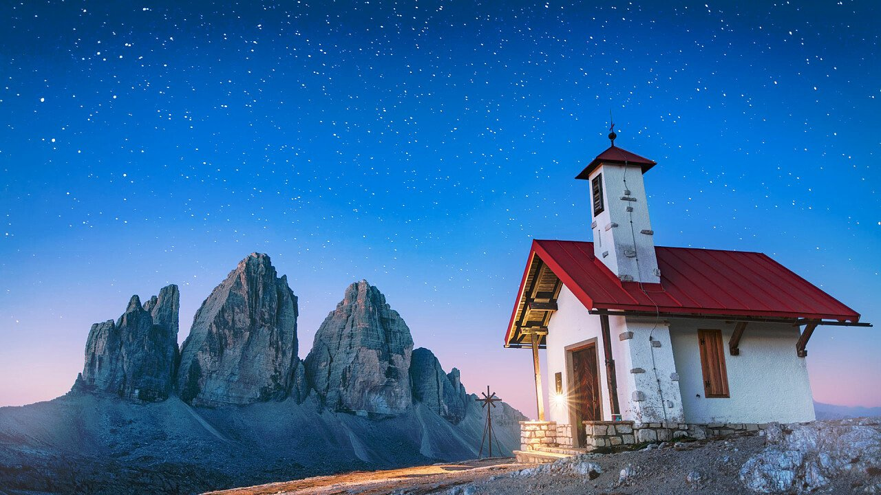 Alpine church at the Tre Cime di Lavaredo