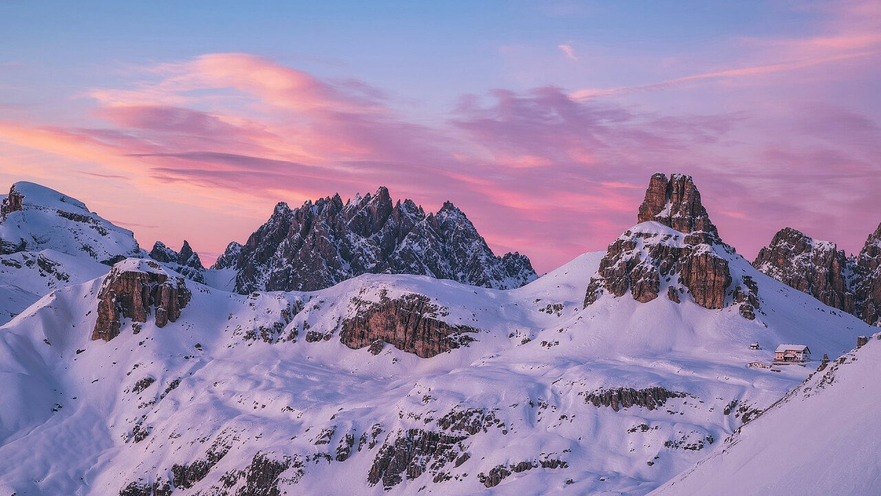 Snow-capped Dolomites seen from Locatelli