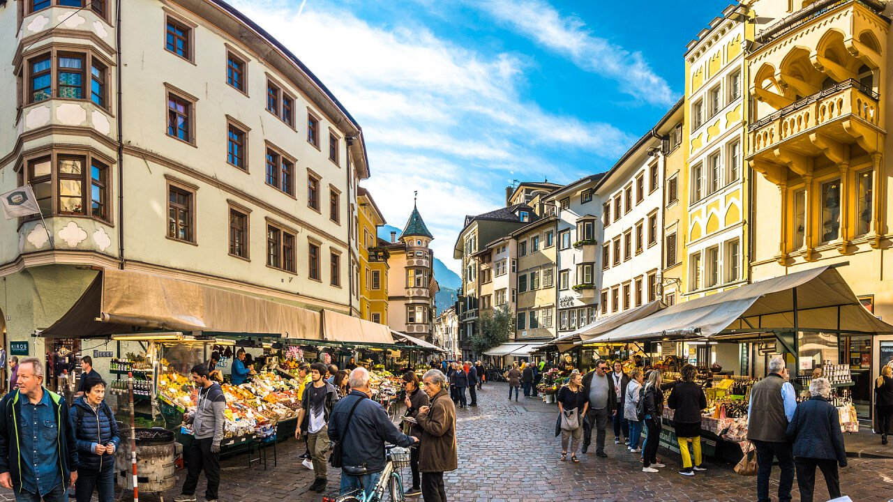 Market streets in the center of Bolzano
