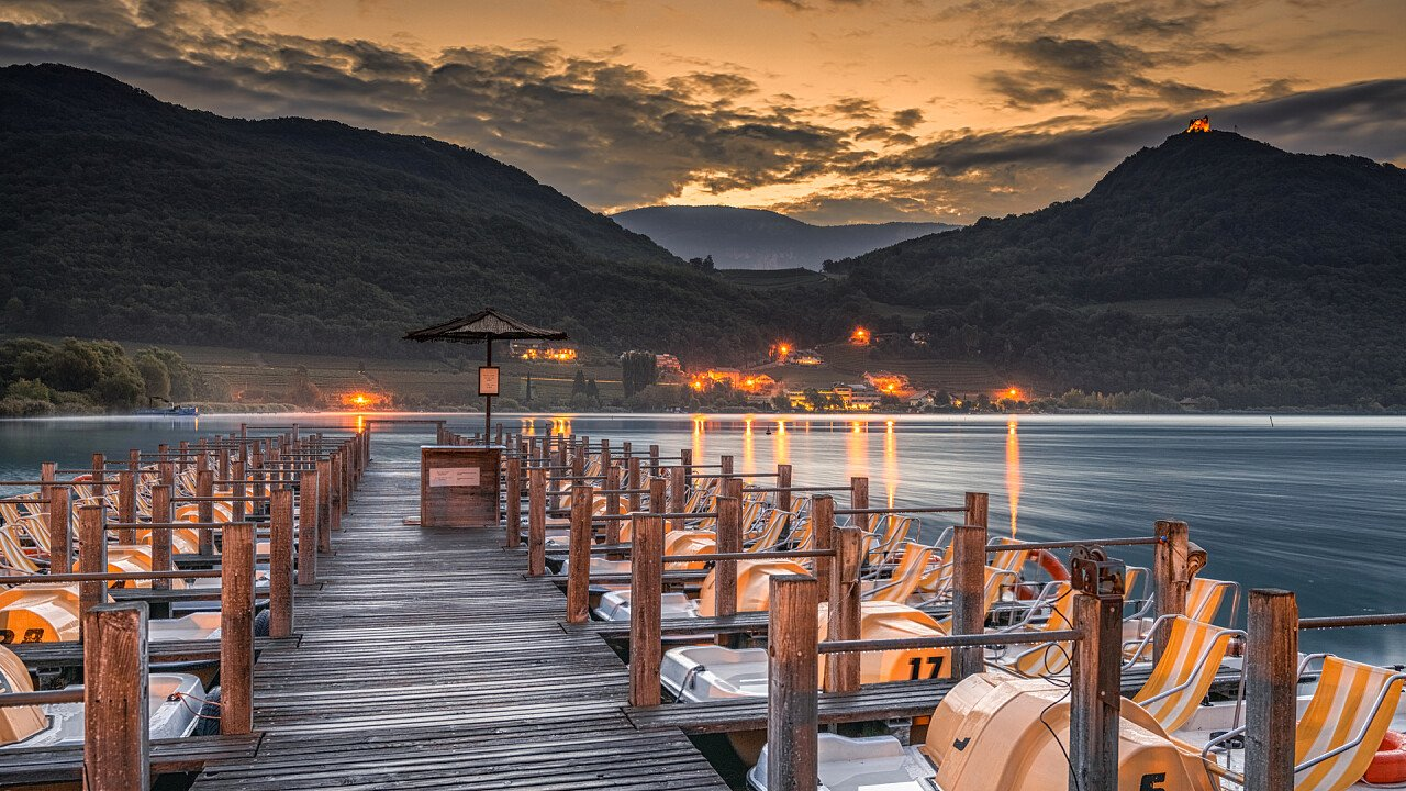 Pedalos to Caldaro lake in the evening