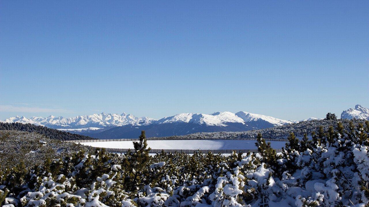 Renon plateau in winter