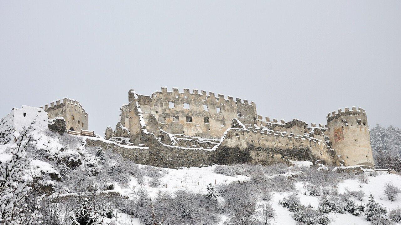 Montechiaro castel in winter in Prato allo Stelvio
