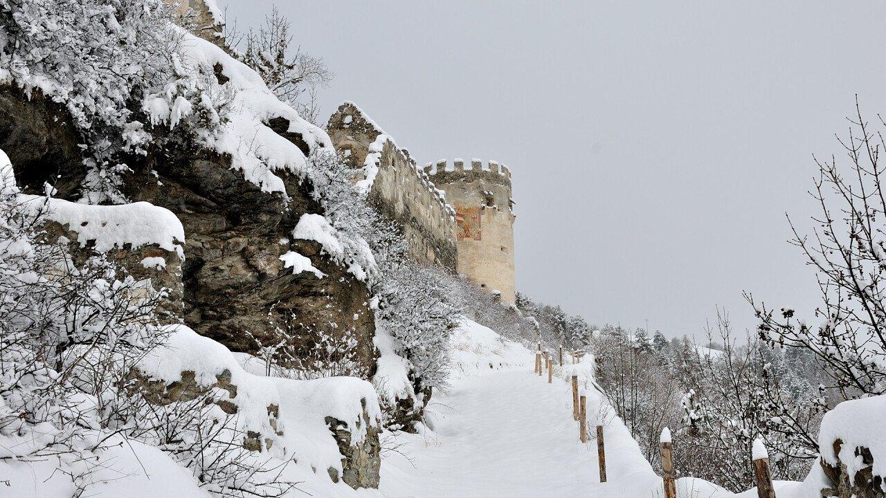 Montechiaro castle in winter in Prato allo Stelvio