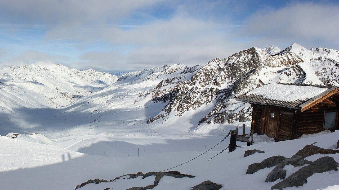 Winter Panorama of skiarea in Val Venosta