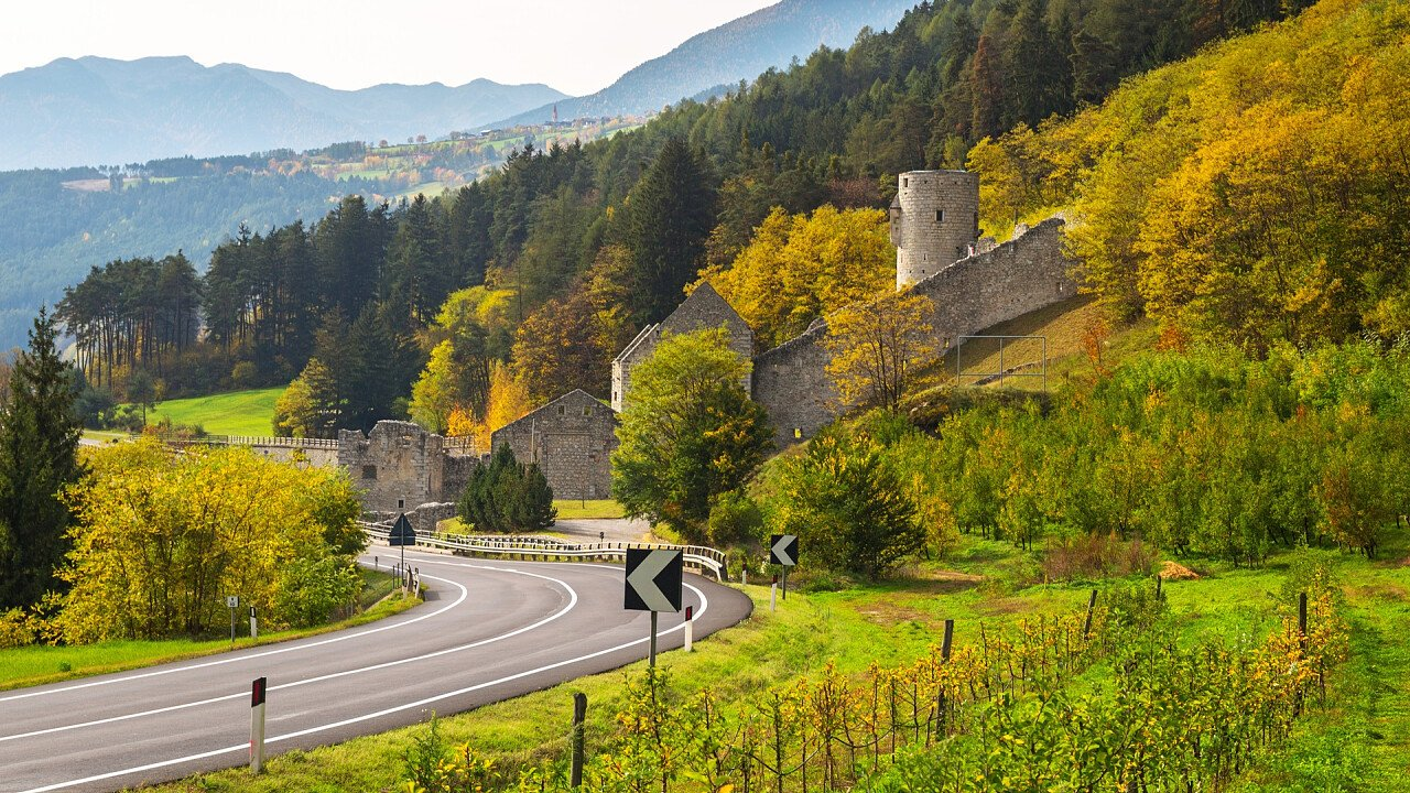 Fortification in autumn in Rio Pusteria