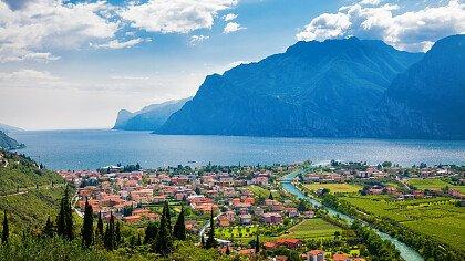 Panorama on Garda lake and Nago-Torbole