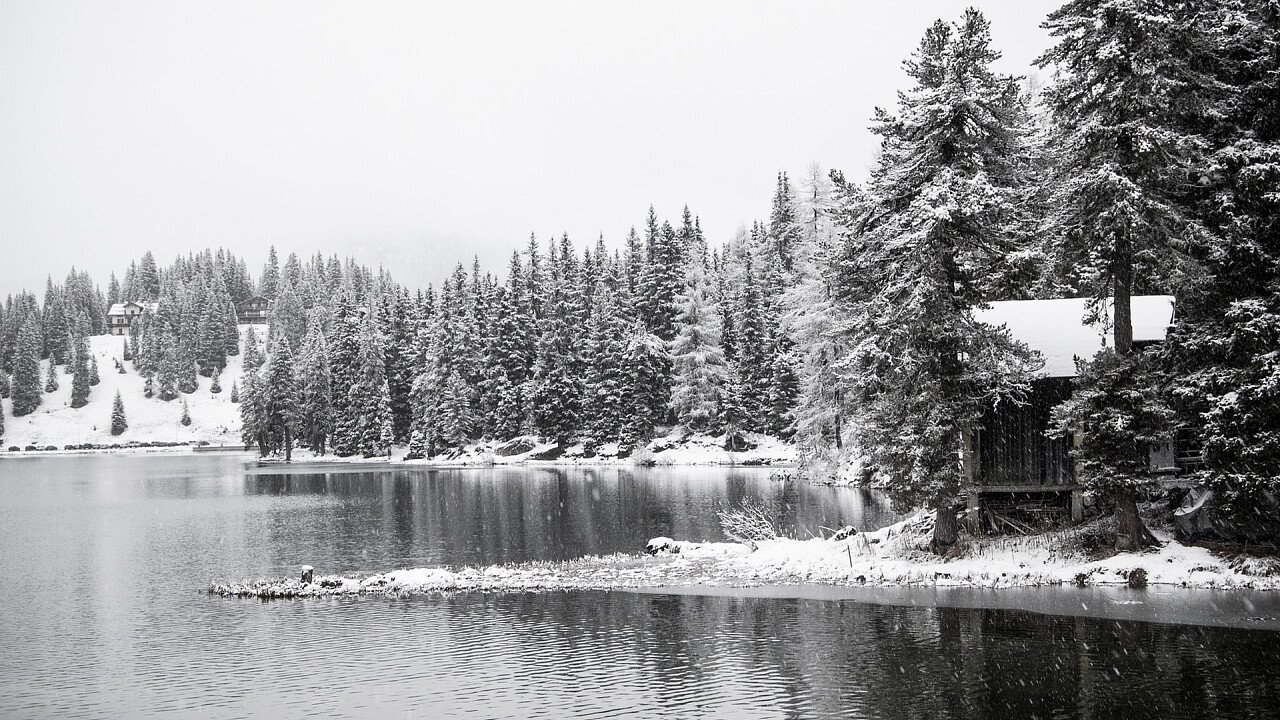 Snow-covered Misurina lake