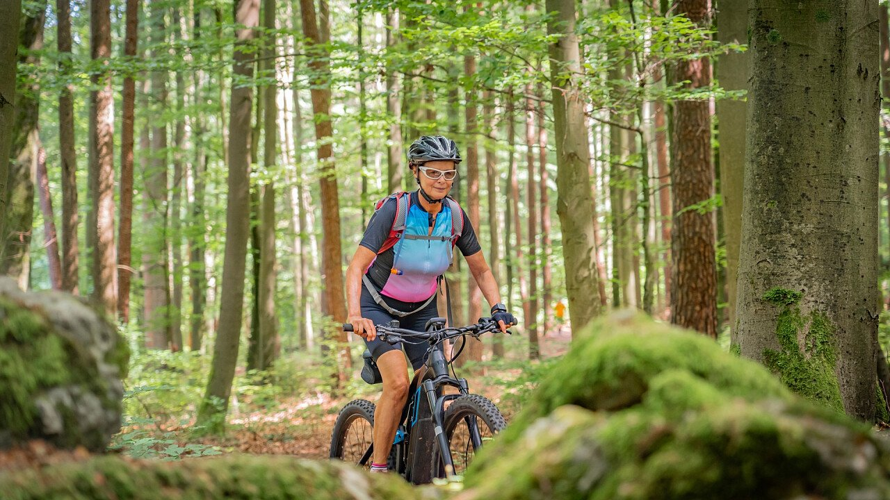 E-bike in the forest of the Dolomites