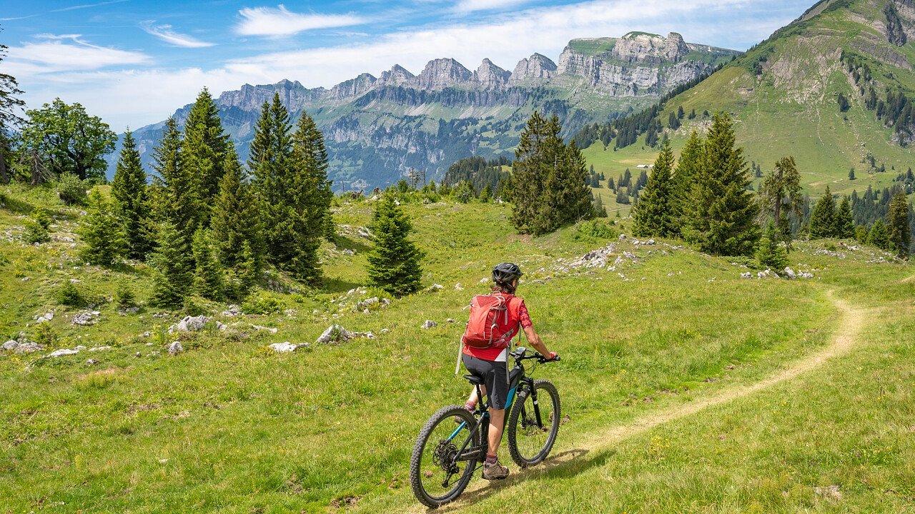 E-bike in summer in the Dolomites