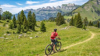 E-bike on a dirt road in the Dolomites