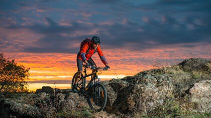 By MTB at sunset in the Dolomites
