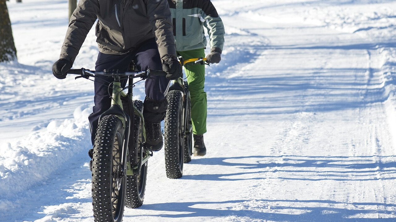 Snowbike in the Dolomites