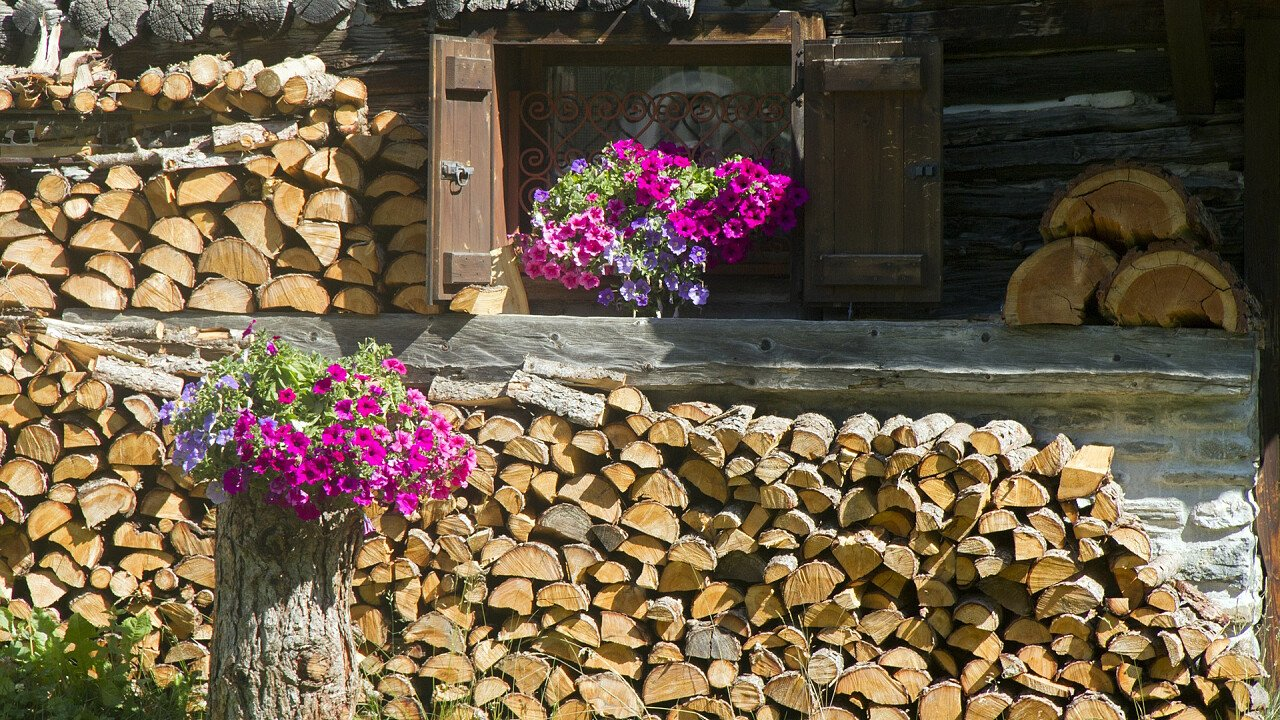 Stacks of wood on a house with a flower vase
