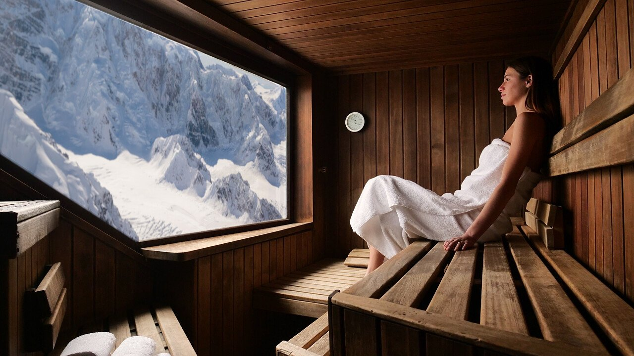 Sauna with snowy mountain view