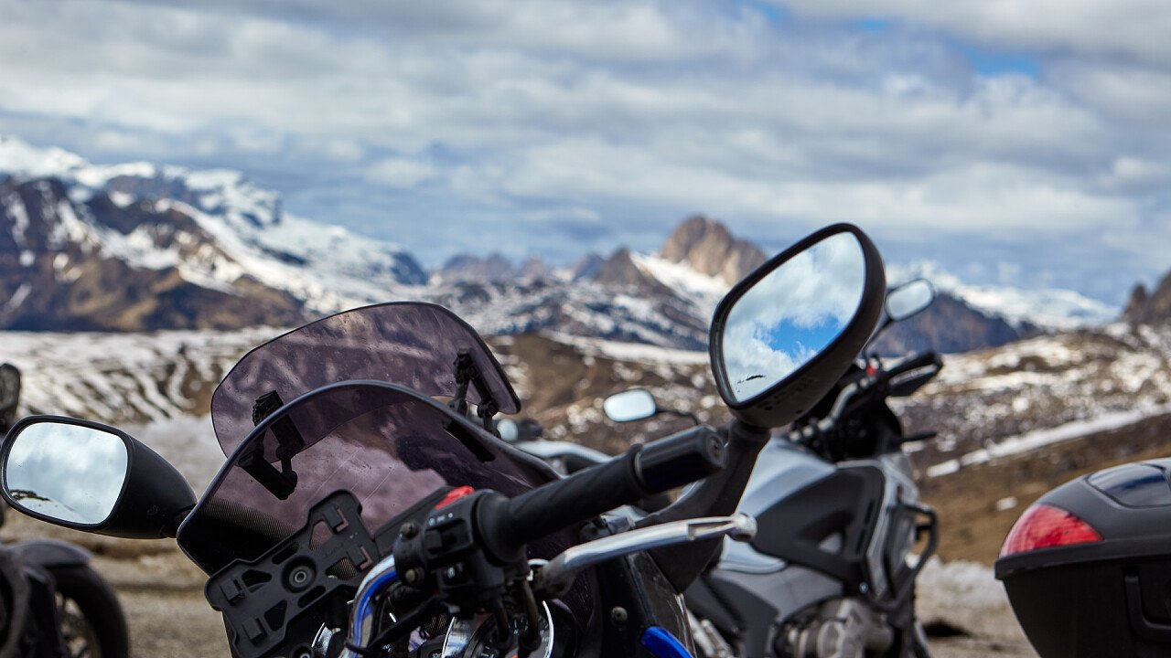 Winter motorcycling in the Dolomites